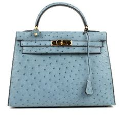 Emmy DE * Herm��s Blue Roi Ostrich Sellier Kelly Bag | HOUSE OF ...
