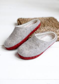 Boiled wool slippers for women with colorful leather soles- FREE SHIPPING