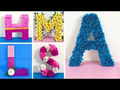 In This Video i showed 5 easy ideas to decorate a letter for birthday and baby shower party at home. i hope this video. 3d Letters, Floral Letters, Balloon Decorations Party, Birthday Decorations, Baby Shower Decorations, Egg Carton Crafts, Easter Egg Crafts, Letter A Crafts, Quilling Designs