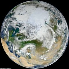 The White Marble by NASA - Earth captured in its entirety from an altitude of 512 miles (824 kilometers) over the North Pole. via dailymail.co.uk #Earth #NASA #North_Pole #dailymail_co_uk