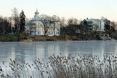 Helsinki: Villa Kivi and a few others of the Eläintarha villas situated on the eastern side of Töölönlahti inlet. Photo taken from the opposite shore of the frozen bay on a cold winter day. Scandinavian Countries, Winter Day, Photo Location, Capital City, Helsinki, Great Photos, Denmark, Norway, Taj Mahal