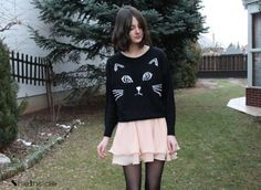 (FOR RAYVEN) Black Embroidered Cat Sweater