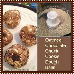Oatmeal Chocolate Chunk Cookie Dough Balls (Raw, Vegan, Gluten Free)