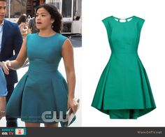 Jane's teal pleated dress on Jane the Virgin.  Outfit Details: https://wornontv.net/70787/ #JanetheVirgin