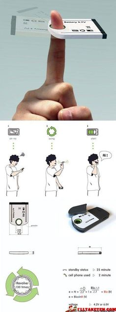 Absolutely Genius Ideas :: recharge your phone battery by spinning on your finger