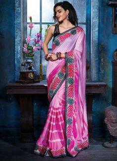 Lavender Pink Cotton Silk Saree