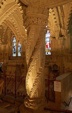 Join buildyful.com - the global place for architecture students.~~The Apprentice Pillar inside Rosslyn Chapel, Scotland