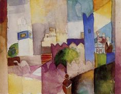 August Macke (German, 1887 - 1914) - Kairouan III (Tunisia), 1914 watercolor over pencil on paper
