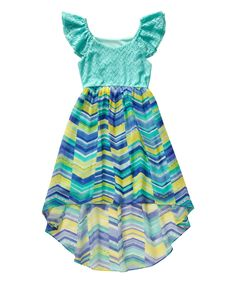 Look at this #zulilyfind! Turquoise Chevron Lace Angel-Sleeve Hi-Low Dress - Girls by Youngland #zulilyfinds