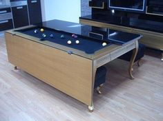 If you are looking for a luxury item to add to your home, this beautiful golden pool table can be just the thing. The Flap Table Luxury Gold Dining/Pool Table from Koralturk will add an exceptional sophisticated look to the chosen room. Its structure was Game Room Furniture, Space Saving Furniture, Home Furniture, Furniture Design, Furniture Ideas, Furniture Stores, Dining Room Pool Table, Pool Tables, Folding Pool Table