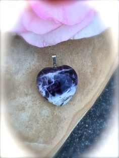 BANDED AMETHYST HEART Pendant-Amethyst and by WhimsicalMystical