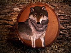 Grey Wolf painted on Wood by VoceDelBosco