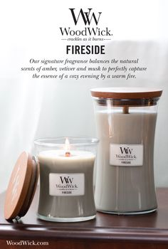 Our signature fragrance balances the natural scents of amber, vetiver and musk to perfectly capture the essence of a cozy evening by a warm fire. WoodWick® candles use a natural, wooden wick that creates the soothing sound of a crackling fire #fireside