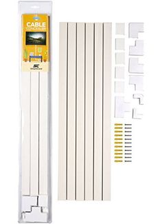 Cable Concealer On-Wall Cord Cover Raceway Kit - Cable Management System to Hide Cables, Cords, or Wires - Organize Cables to TVs and Computers at Home or in The Office