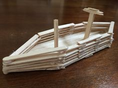 Making a boat with popsicle sticks #kids #craft #ice cream stick