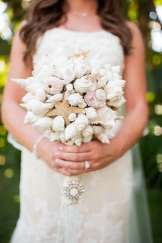Seashell Wedding bouquet...good for a beach theme.