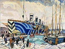 """Olympic in dazzle paint during WWI.  In May 1918, she rammed and sank a German U-boat and is estimated to have carried up to 201,000 troops and other personnel during the war. She earned the nickname """"Old Reliable"""" for her service as a troopship."""
