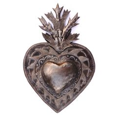 Flaming Heart Erzuli Recycled Steel Art made in by ArtUnderTheTree