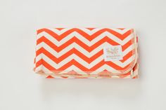 Organic baby blanket, chevron coral, swaddle large, 100% certified cotton