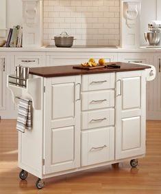 Chariot de cuisine « Create-a-Cart » finition blanche avec plateau bois de chêne