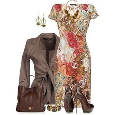 Swirl Print Dress by daiscat on Polyvore featuring James Lakeland, Annarita N., MARC BY MARC JACOBS, Kendra Scott, Gucci and Sparkling Sage