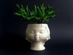 Vintage Head Planter // Vintage Vasen - ☘ Vintage Bubikopf Übertopf Kopf 60er - ein Designerstück von ILoveSparrows bei DaWanda
