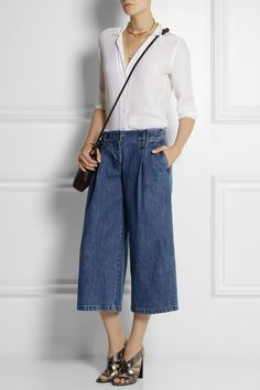 Sewing and styling inspiration. Michael Kors | Denim culottes | NET-A-PORTER.COM. Love the sandals too.