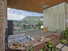 Indoor/outdoor Master Bath in the Hollywood Hills, Los Angeles, Calif.