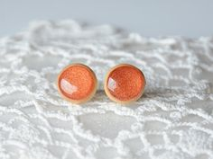 Small golden color wooden studs made from real by MyPieceOfWood, $16.00