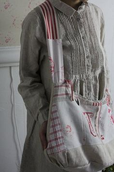 """""""La France lin ancien sac à bandoulière réversible» Kokin-Fuat Coconfouato [Antique & biens divers] antique croix tissu antique de dentelle de tissu textile antique --cloth--"""