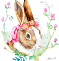 ooakOriginal Rabbit and poppy flower Illustration Art 6x6 by asho, $11.00