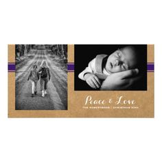 Peace & Love - Christmas Photo Paper Purple Belt Personalized Photo Card