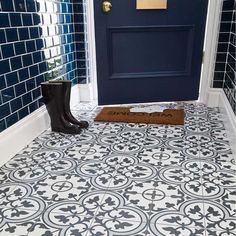 Atterly Floor Tile 450 x Blue Floor ceramic floor tiles Hall Tiles, Tiled Hallway, Hallway Flooring, Porch Flooring Tiles, Tile Effect Vinyl Flooring, Ceramic Floor Tiles, Bathroom Floor Tiles, Bathroom Tile Patterns, Tile Floor Patterns