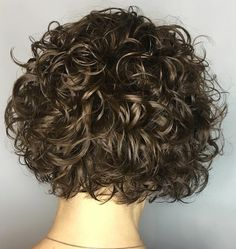Short Walnut Brown Curly Bob with Glossy Finish