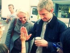 Martin, and wife Amanda meeting fans on setlock <<<< awwww look at the hedgehog.