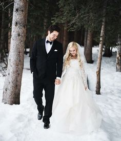 modest wedding dress with long lace sleeves and a full a-line skirt from alta moda. -- (modest bridal gown)