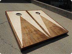 Stained Triangle Hardwood Set with Bags - Custom Cornhole, LLC