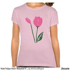 Sold! Thank you to the customer! Pink Tulips Girls' Babydoll T-Shirt; Abigail Davidson Art; ArtisanAbigail at Zazzle