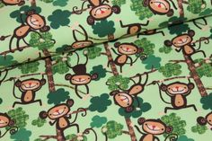 Affen im Wald grün Jersey von Kleine Stoffträume auf DaWanda.com