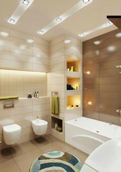 badezimmer kleines beleuchtung idee einbauregal indirekt licht bidet