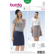Two skirts in very different styles. Common to both is the curved, asymmetric yoke. It is held at the upper edge with elastic.