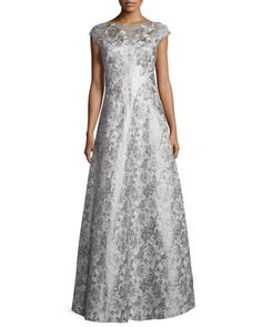 Cap-Sleeve+Floral+Metallic+Ball+Gown,+Silver+by+Kay+Unger+New+York+at+Neiman+Marcus.