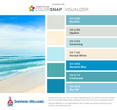 I found these colors with ColorSnap® Visualizer for iPhone by Sherwin-Williams: Nautilus (SW Opaline (SW Swimming (SW Honied White (SW Dynamic Blue (SW Freshwater (SW Sky Fall (SW Coastal Paint Colors, Bedroom Paint Colors, Exterior Paint Colors, Exterior House Colors, Paint Colors For Home, Home Deco, Bathroom Colors Blue, Beach Color, Scandinavian Interior Design