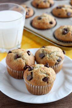 Banana Chocolate Chip Muffins from DessertNowDinnerLater.com