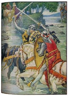 """BEAUMAINS WINS THE FIGHT AT THE FORD"" King Arthur's Knights, by Henry Gilbert, Illustrated by Walter Crane"