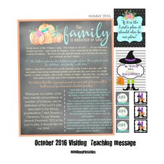 October 2016 LDS Visiting Teaching Message- Digital Download- Happy Halloween by Mimileeprintables on Etsy Relief Society Handouts, Relief Society Activities, Visiting Teaching Message, Family First, Lds, Happy Halloween, Sisters, October, Printables