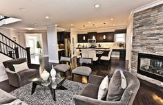 For the living room--Grey Living Rooms With Dark Floors And Espresso Furniture Design, Pictures, Remodel, Decor and Ideas Grey Family Rooms, Family Room Design, Living Room Grey, Home Living Room, Living Room Designs, Living Spaces, Kitchen Living, Room Kitchen, Small Living