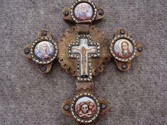 RUSSIAN ORTHODOX CHURCH EPISCOPAL CROSS CRUCIFIX ENAMEL ICON MOP MELCHIOR SILVER
