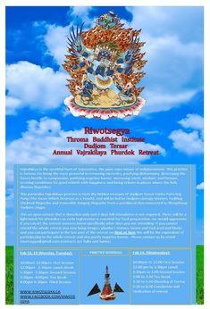 Riwotsegya Annual 3 Day Vajrakilaya Phurdok Retreat Feb 12,13,,14 2018 Flourish, Holi, Day, Movie Posters, Canada, Film Poster, Holi Celebration, Billboard, Film Posters