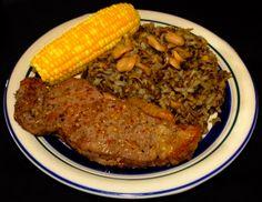Striploin Steak with Wild Rice #Striploin #Steak #Beef #WildRice #Corn